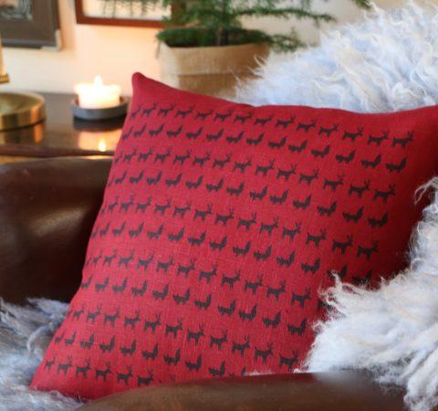 Porokulkue tyyny punainen